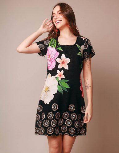 Vestido verano corto negro o verde esmeralda con flores Malagueta-72057MAL-A
