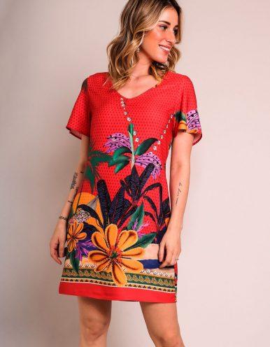 Vestido verano corto rojo con escote en V y estampa tropical Malagueta-72171MAL