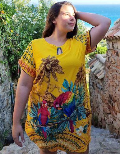 Vestido verano corto talla grande amarillo, manga corta y escote redondo Malagueta-A