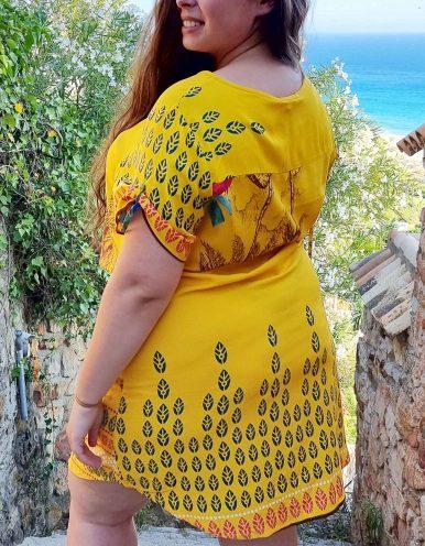 Vestido verano corto talla grande amarillo, manga corta y escote redondo Malagueta-B