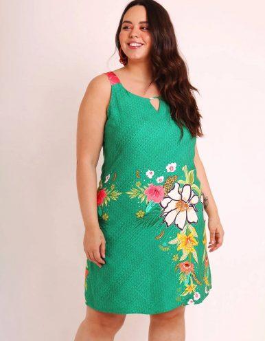 Vestido verano corto talla grande verde o marrón con tirantes y ajustable en espalda Malagueta-57507MAL-C