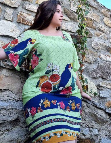 Vestido verano corto talla grande verde pistacho, manga corta y escote cuadrado Malagueta-A