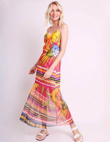 Vestido verano midi amarillo o rosa con tirantes y bajos tul Malagueta-72426MAL-A