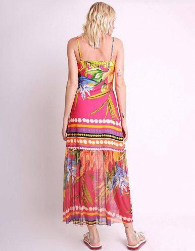 Vestido verano midi amarillo o rosa con tirantes y bajos tul Malagueta-72426MAL-B