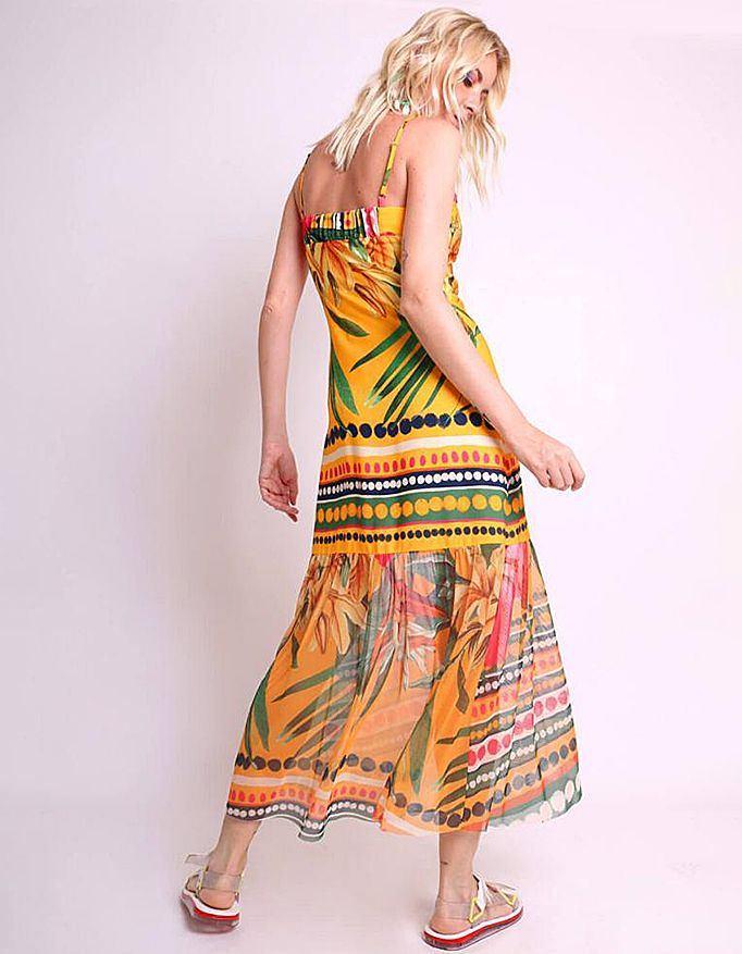 Vestido verano midi amarillo o rosa con tirantes y bajos tul Malagueta-72426MAL-E