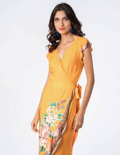 Vestido verano midi azul o naranja envelope con mangas mariposa Malagueta-72751MAL-D