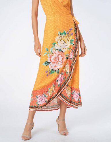 Vestido verano midi azul o naranja envelope con mangas mariposa Malagueta-72751MAL-E