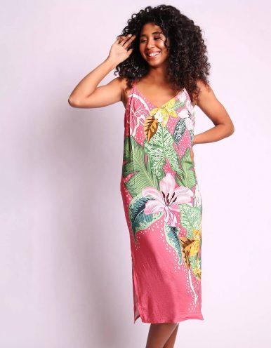 Vestido verano midi azul o rosa con tirantes y espalda abierta Malagueta-72347MAL-A
