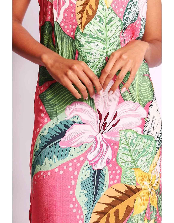 Vestido verano midi azul o rosa con tirantes y espalda abierta Malagueta-72347MAL-B