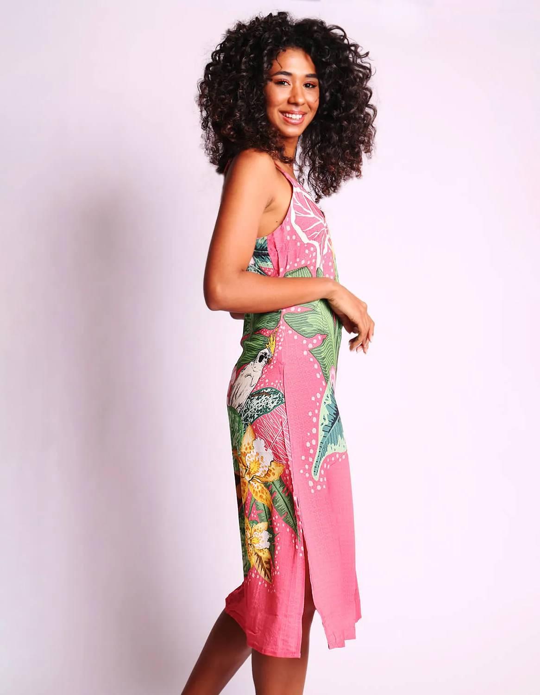 Vestido verano midi azul o rosa con tirantes y espalda abierta Malagueta-72347MAL-D