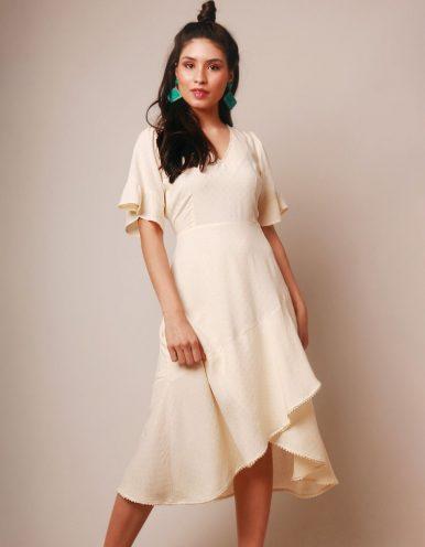 Vestido verano midi blanco roto escote V y manga corta Malagueta-72046MAL-A