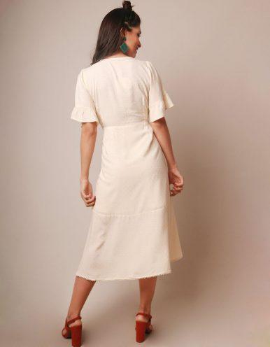Vestido verano midi blanco roto escote V y manga corta Malagueta-72046MAL-B
