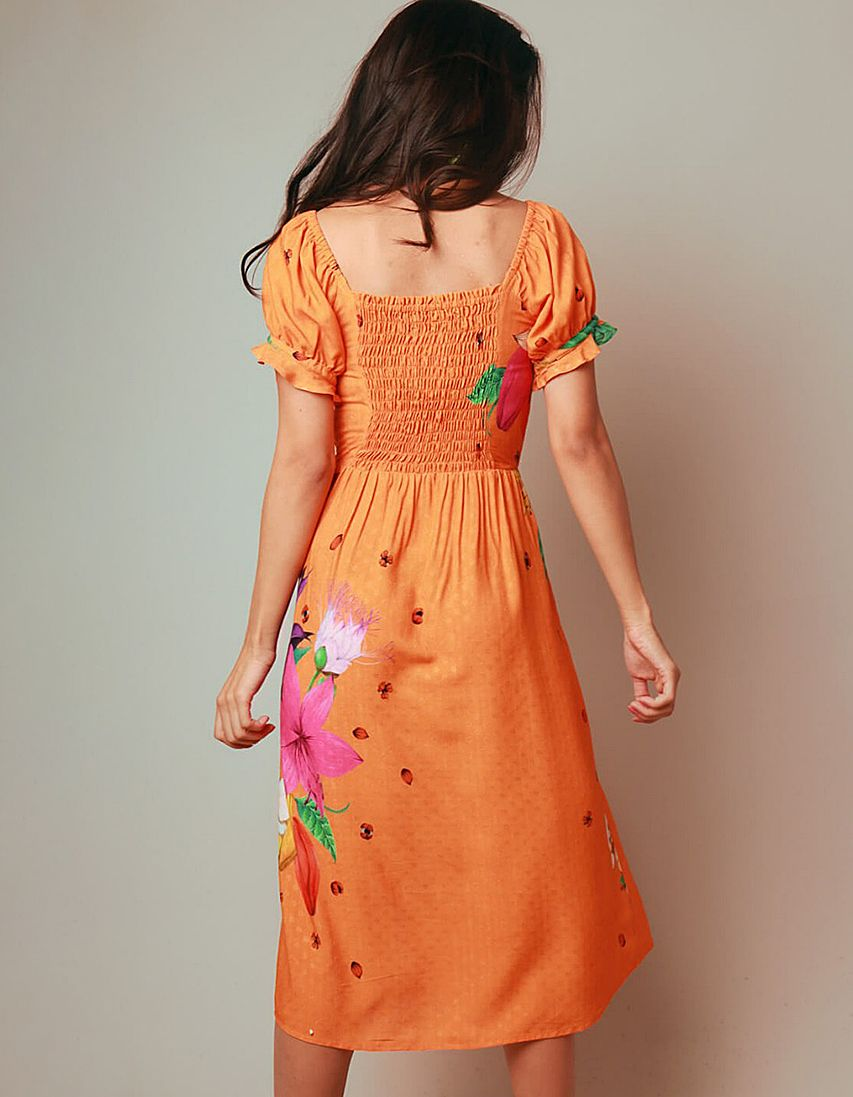 Vestido verano midi naranja y escote cuadrado Malagueta-72055MAL-B