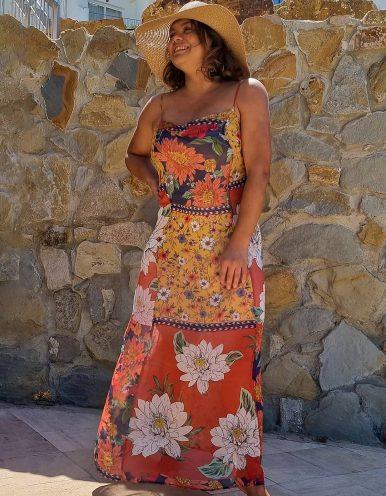 Vestido verano midi tirantes estampa floral Malagueta-A