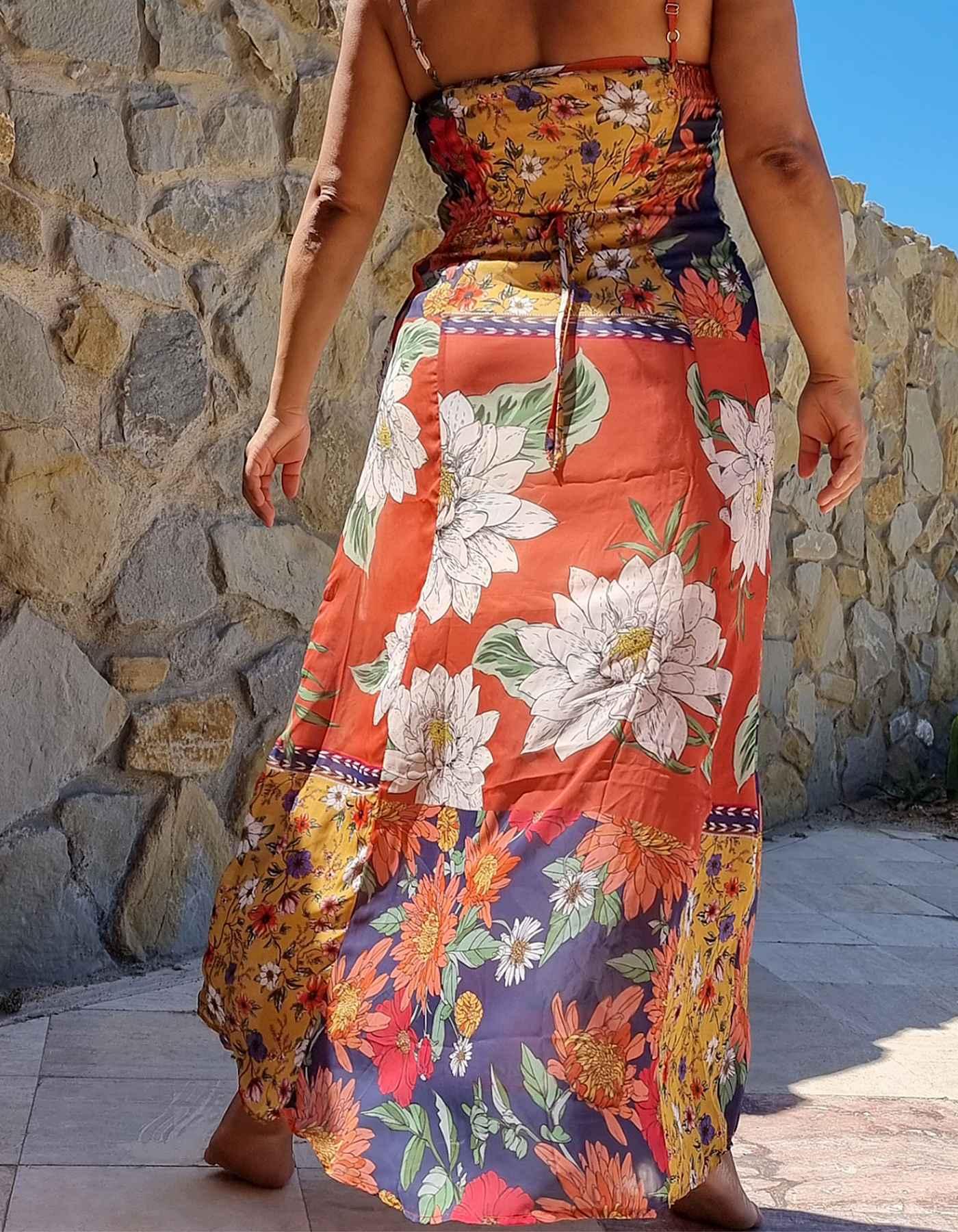 Vestido verano midi tirantes estampa floral Malagueta-B
