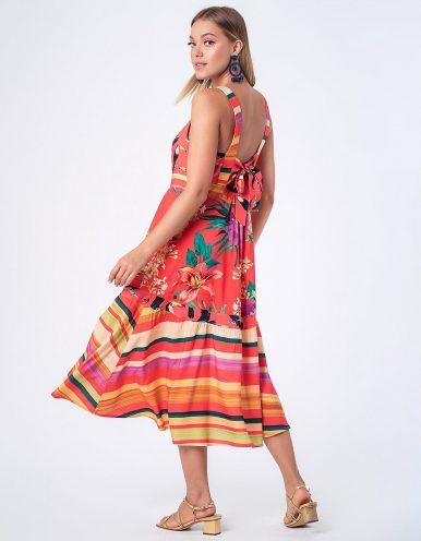 Vestido verano midi tirantes y estampa tropical Malagueta-72763MAL-A