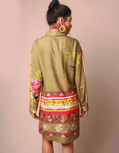 Vestido verano verde corto o vestido camisa con botones Malagueta-72032MAL-B