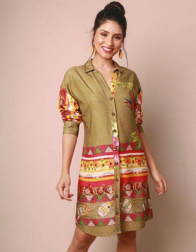 Vestido verano verde corto o vestido camisa con botones Malagueta-72032MAL-D