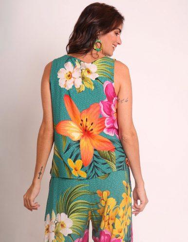 Blusa verano blanca o verde sin mangas y estampa floral Malagueta-72396MAL-A