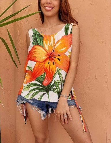 Blusa verano blanca o verde sin mangas y estampa floral Malagueta-B