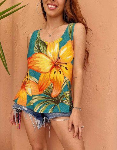 Blusa verano blanca o verde sin mangas y estampa floral Malagueta-F