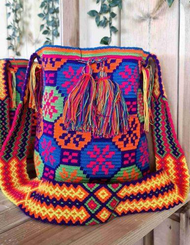 Bolso Wayuu Artesanal, Auténtico y Original (sólo 1 igual) MOTIVOS TRIBALES A