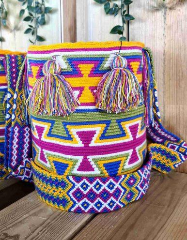 Bolso Wayuu Artesanal, Auténtico y Original (sólo 1 igual) MOTIVOS TRIBALES L